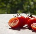 Tomatos photo of fresh background Stock Photography