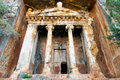 Tomb of amyntas amazing lycian cut in rock fethiye turkey Royalty Free Stock Photography