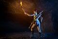 Tomb Raider. Portrait of woman, Lara Croft-like character. Royalty Free Stock Photo