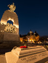 Tomb of the unknown soldier at twilight a view and national war memorial in ottawa ontario canada Royalty Free Stock Photo