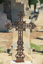 Tombstone with cross ornament at a French cemetery Stock Image