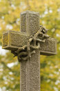 Tombstone cross at vienna main cemetery Royalty Free Stock Photo