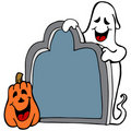 Tombstone Ghost Pumpkin Stock Image