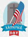 Tombstone with Pennant for Memorial Day Celebration, Vector Illustration Royalty Free Stock Photo
