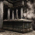 Tombstone with a raven and ivy Royalty Free Stock Photo