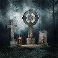 Tombstones in the forest and lanterns a dark at night Stock Images