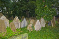 Tombstones at the old jewish cemetery in prague czech republic Stock Photography