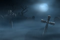Tombstones on a spooky misty graveyard at night path between old and foggy lit by the light of full moon Stock Image