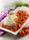 Tomino乳酪用pachino蕃茄沙拉,选择聚焦 库存图片