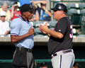 Tommy thompson kannapolis intimidators manager argues his point with home plate umpire edwin moscoso Royalty Free Stock Photos