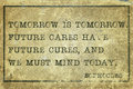 Tomorrow sophocles is ancient greek philosopher quote printed on grunge vintage cardboard Royalty Free Stock Image
