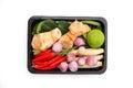 Tomyum Thai food seasoning ingredients on white background
