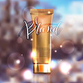 Toner contained in plastic tube with gold lid and place for your Royalty Free Stock Photo