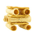 Tong Muan rolled wafer and cracker Thailand as robot isolated Royalty Free Stock Photo