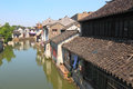 Tongli water town ancient small in china preserved with traditional buildings famous with many rivers and bridges within the Stock Photos