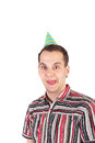 Tongue young handsome business man in the birthday cap fooling Stock Images