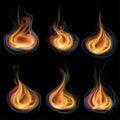 Tongues of flame set orange Stock Photography