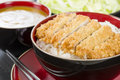 Tonkatsu japanese breaded deep fried pork cutlet on top of boiled rice served with shredded cabbage and curry sauce Royalty Free Stock Photo