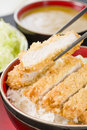 Tonkatsu japanese breaded deep fried pork cutlet on top of boiled rice served with shredded cabbage and curry sauce Stock Photos