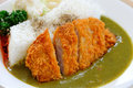 Tonkatsu with rice katsu kare japanese breaded deep fried pork cutlet served steamed salad and curry sauce Stock Photo