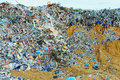 Tons of plastic waste on sky background blue Royalty Free Stock Image