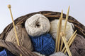 Tons of wool in a basket Stock Photos