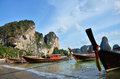 Tonsai bay at krabi thailand ton sai is a beach near in offering a combination of inexpensive accommodation and great rock Stock Image
