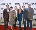 Tony awards meet the nominees press junket actors robert fairchild leanne cope and brandon uranowitz director and choreographer Stock Image