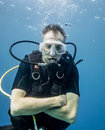 Too cold for a shorty scuba divers feels chilly because he is only wearing Royalty Free Stock Photo