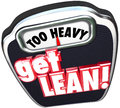 Too heavy get lean words scale lighten up efficient productive t on a display and in d letters to display and business management Stock Photography