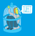 Too much social network humor man tweeting from his bird cage Royalty Free Stock Photography