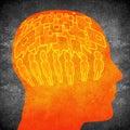 Too much speaking concept digital illustration orange on black Stock Photos