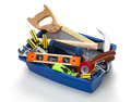Tool box filled with work tools on white Royalty Free Stock Images