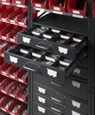 Tool cabinet full frame detail of a with open drawers Royalty Free Stock Image