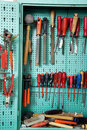 Tool cabinet in a workshop Royalty Free Stock Photo
