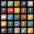 Tool flat icons with long shadow Royalty Free Stock Images