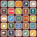 Tool flat icons on red background Royalty Free Stock Photo
