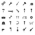 Tool icons with reflect on white background stock vector Royalty Free Stock Photography