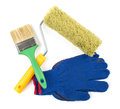 Tool kit paint roller paint brush work gloves white Royalty Free Stock Image