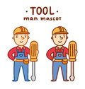 Tool man mascot in two outline variations vector illustration Royalty Free Stock Image