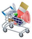 Tool trolley illustration of a shopping cart or full of work tools Royalty Free Stock Images