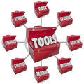 Toolbox tools increasing skills success goal mission toolboxes containing needed ingredients and to achieving in working toward a Stock Photography