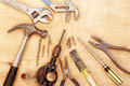 Tools assorted old work on wood Royalty Free Stock Images
