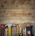 Tools assorted work on wood Royalty Free Stock Image