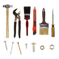 Tools assortment of on plain background Stock Photo