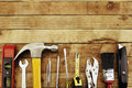 Tools assortment of on wood Royalty Free Stock Photos