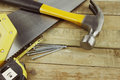 Tools assortment of on wood Royalty Free Stock Images