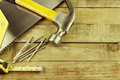 Tools assortment of on wood Stock Images