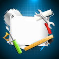Tools background and empty paper carpentry Stock Photo