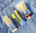 Tools blue jean back pocket Stock Photo